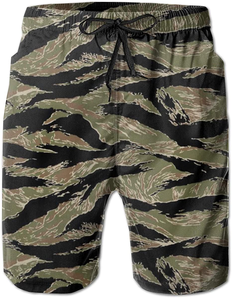 SSANSKKE Tiger Stripe Camouflage Mens Quick Dry Swim Trunks Beach Shorts
