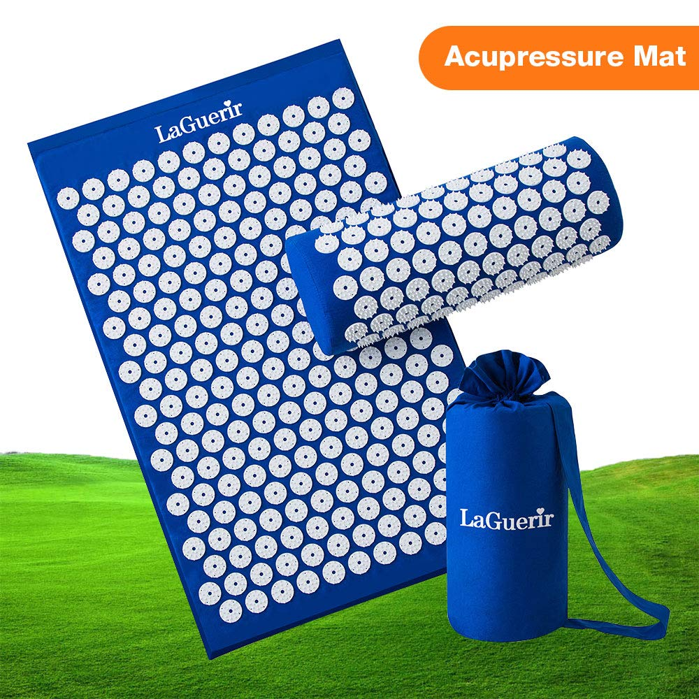 Acupressure Mat,Bed Grounding Mat Acupuncture Needles Back and Neck Pain Relief for Yoga and Travel,Relieves Stress,Lower Back Pain Relief (Blue) by Aquapro (Image #1)
