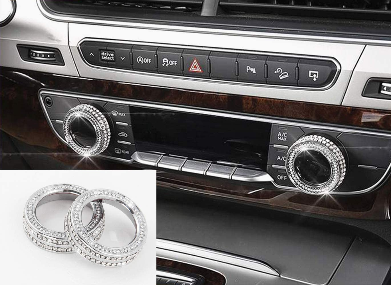 HAILWH Fit Audi Q7 2016-2019 Crystal Rhinestone Bling Accessories Multimedia Central Control AC Rearview Mirror Control Knob Applique Cover Decorative Ring Central Control knob Cover