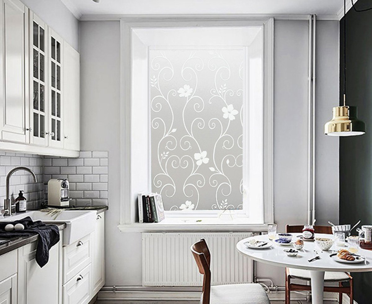 DUOFIRE Window Film Privacy Window Film Frosted Glass Film Static Cling Glass Film No Glue Anti-UV Window Sticker for Bathroom Bedroom Living Room (White Flower-DP014W, 35.4in. x 118in.)