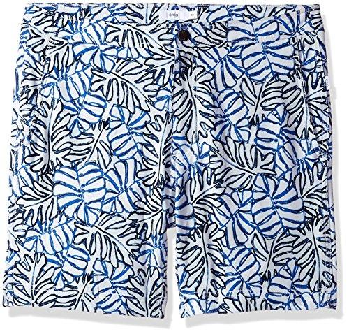 onia Men's Petite Plus Calder 7.5 Inch Italian Print Swim Trunk, White/Multi, - Italian Swimwear Mens