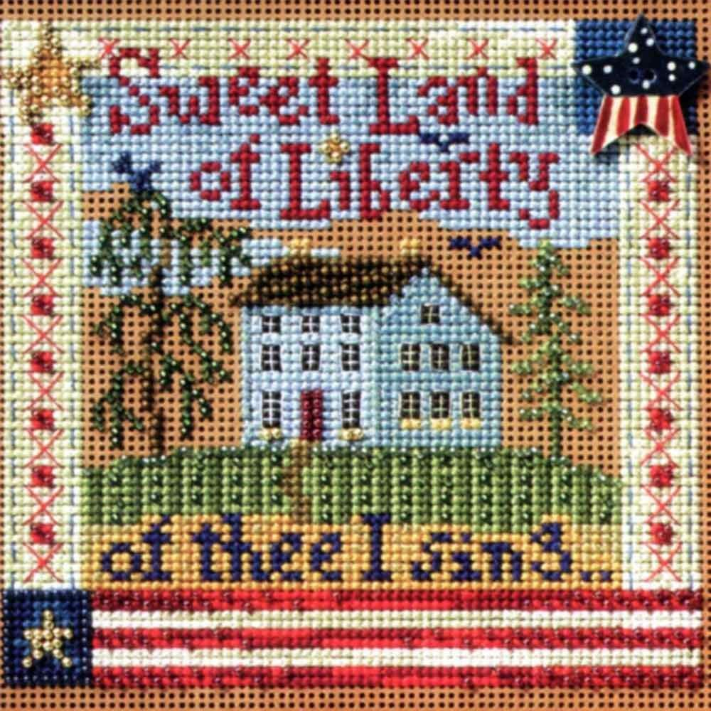 2 Patriotic Items Bundle Counted Cross Stitch and Bead Kits God Bless America and Sweet Land of Liberty
