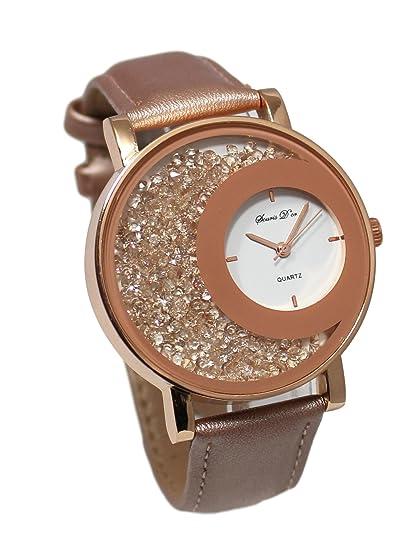 Reloj mujer cristal pedrería Gold rosa Color Cobre correa piel rosa colección Dolce Vita