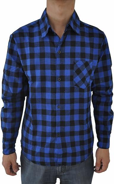 SODIAL Camisa de Manga Larga a Cuadros Vintage para Hombre Camisas de Slim Fit para Hombre Camisa de Alta Calidad XL Cuadros Azules Oscuros