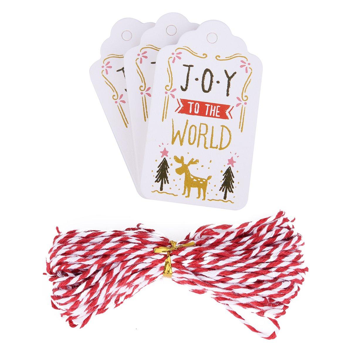 Bluesnow 50 Pcs Christmas Elk Design Kraft Paper Creative Gift Tag Bookmark With Twines