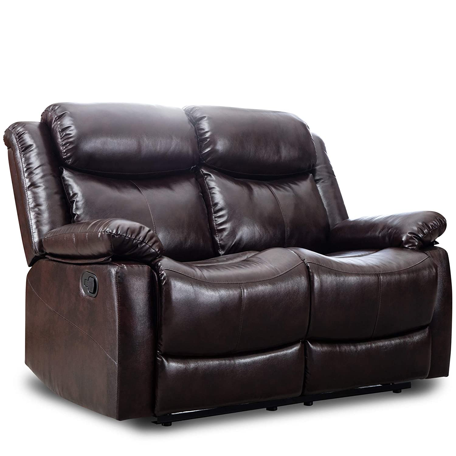 Harper & Bright Designs Loveseat Recliner Manual Reclining Sofa Seat Classic Recliner Leather Sofa Set for Living Room