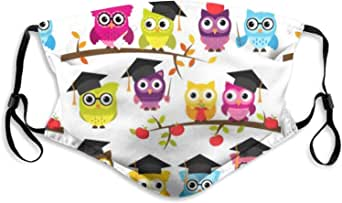 School Graduation Themed Owls Adult Reusable Washable Breathable Face M-A-S-K with Adjustable Earloops for Boys Girls