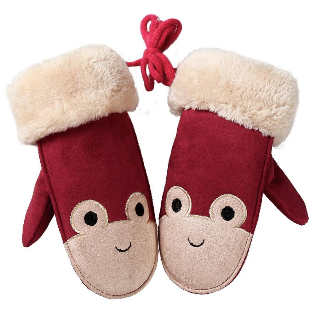Amiley Winter Children Girls Boys Sweet Twist Gloves Warm Full Finger Gloves Christmas