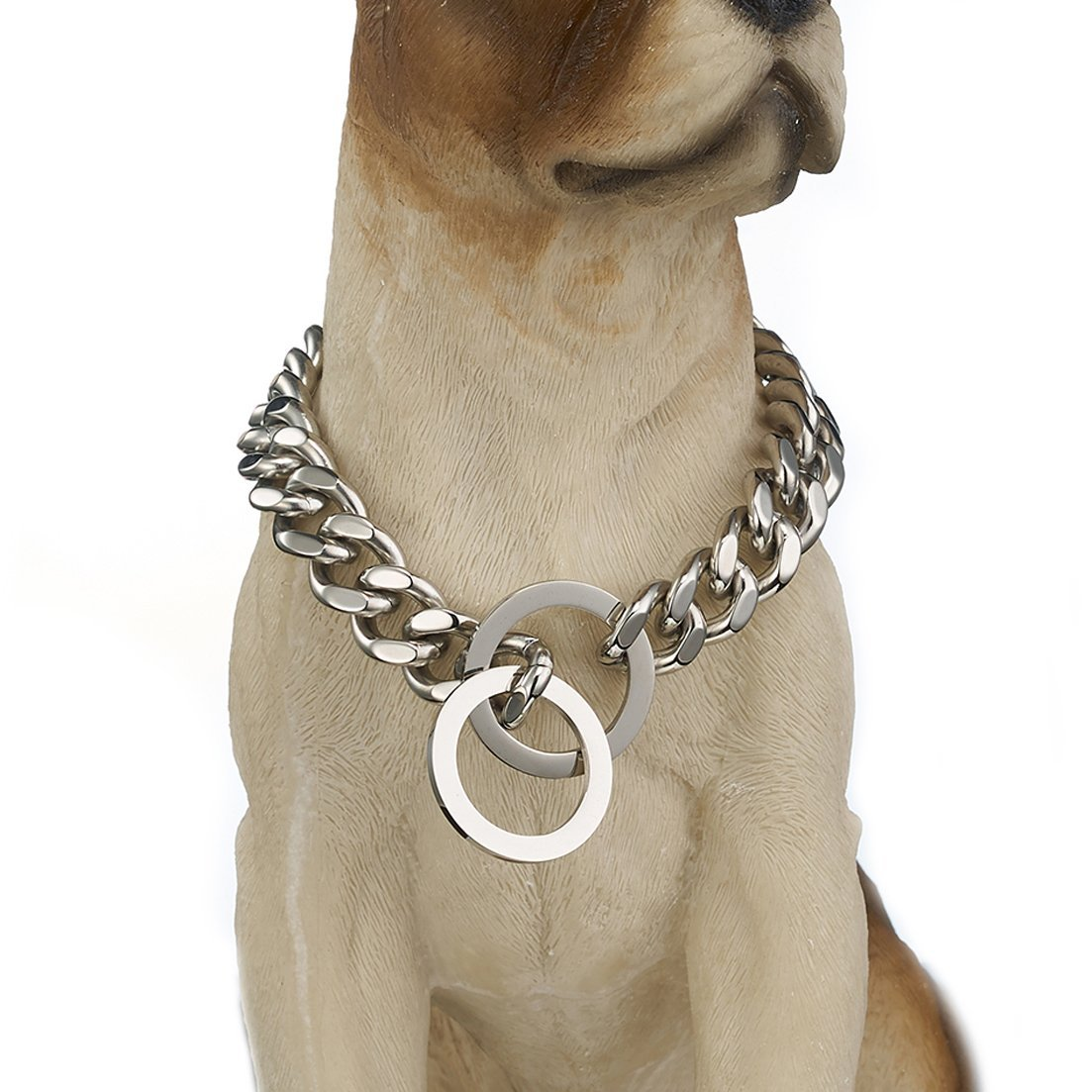 Granny Chic Strong Dog Collar Stainless Steel Pet Chain Necklace 12mm 15mm Width(15mm,16inches)