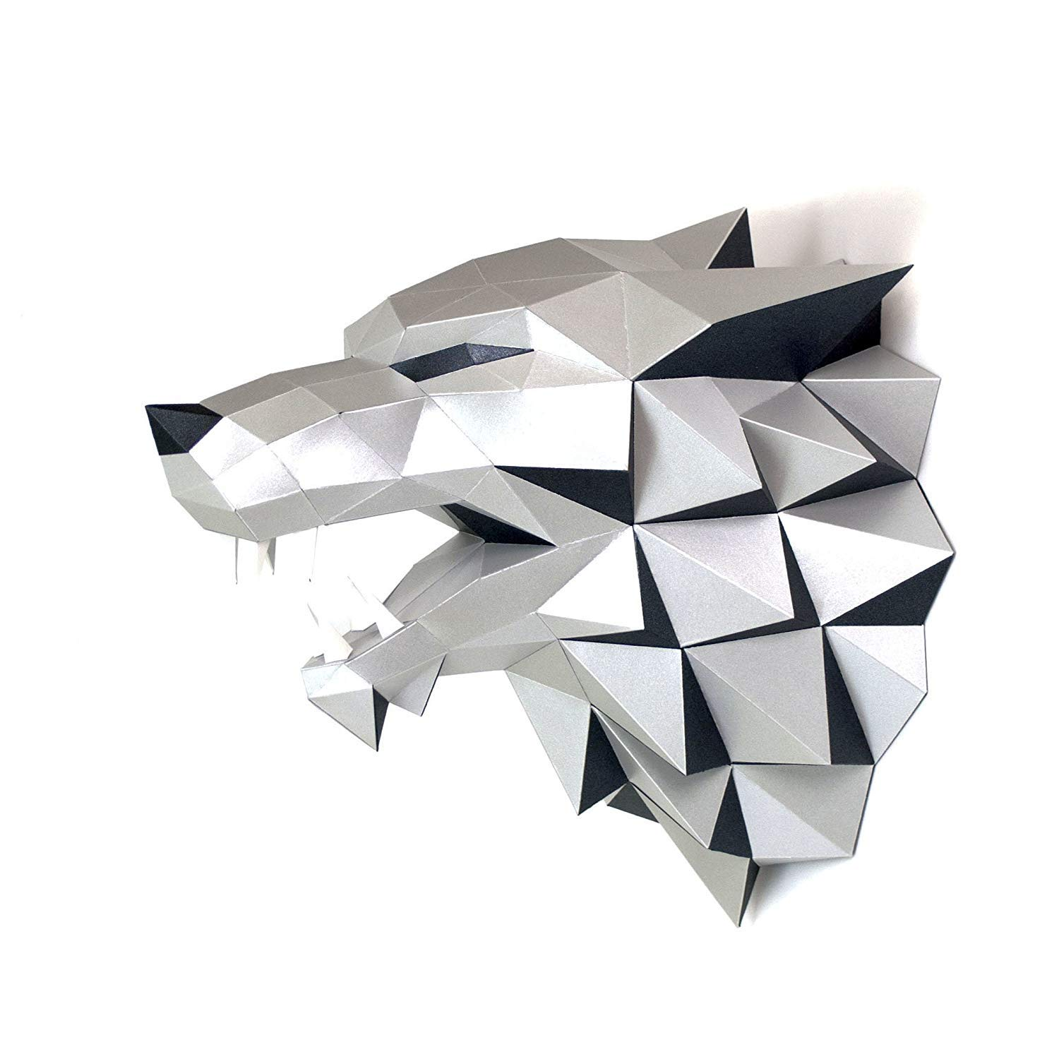 Wolf Head Paper Trophy Complete Craft kit GOT House Stark Direwolf DIY 3D Building Puzzle Adults Low Poly Paper Animal Building Set Game Thrones