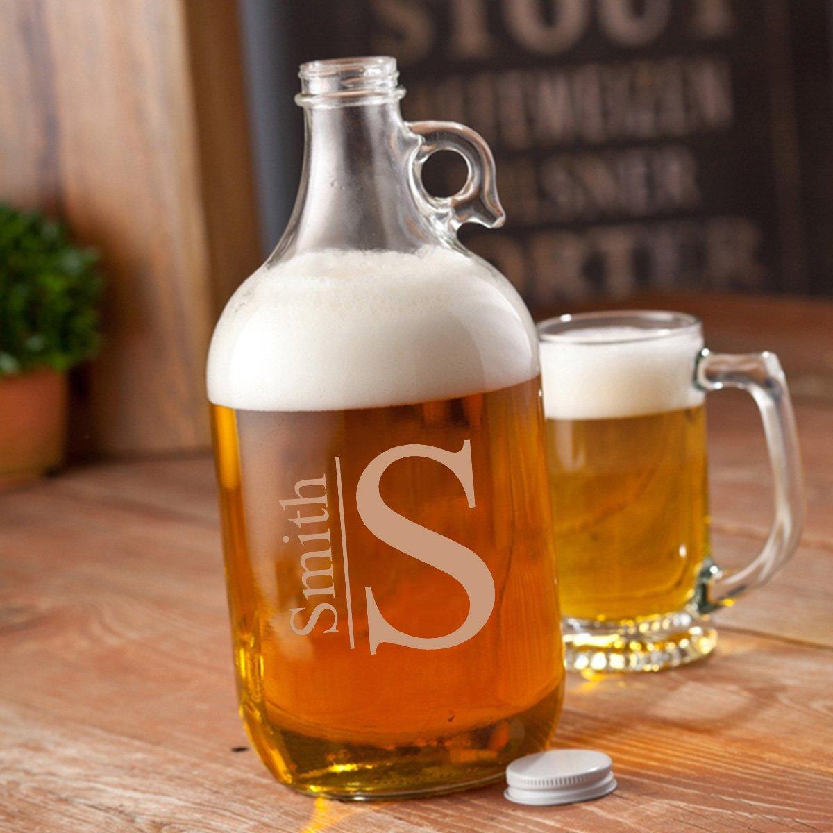 Modern Monogrammed Glass Beer Growler