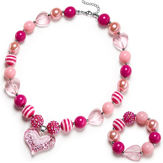 vcmart Girls Gilitter Heart Chunky Bubblegum Bead Necklace & Bracelet Set Fashion Jewelry Pendant with Gift Box
