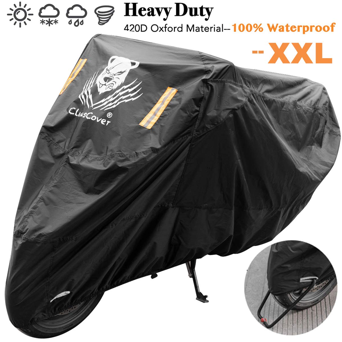 Waterproof Heavy Duty Durable Thick 210D All Season Outdoor Protection for Motorcycle up to 104 Inches Long XYZCTEM Motorbike Cover