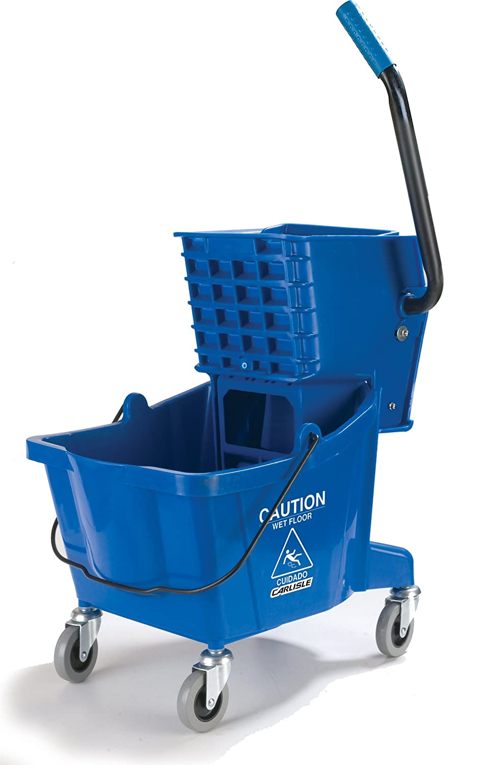 Carlisle 3690814 Commercial Mop Bucket with Side Press Wringer, 26 Quart Capacity, Blue