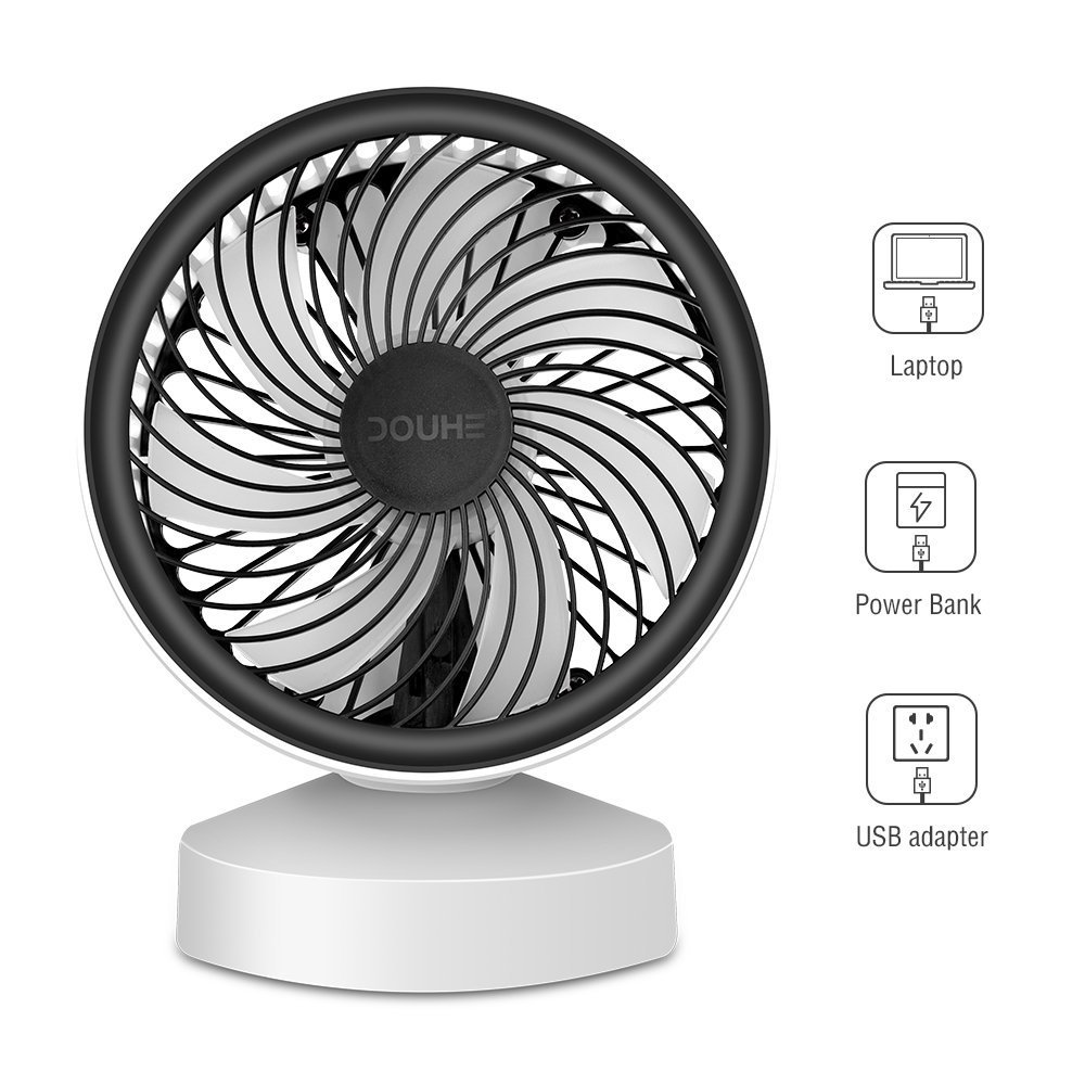 DOUHE USB Fan MINI Fan Desk Fan Small Fan Portable Desk Fan 7 Turbo Leaves 22 ° Tiltable with Handle Energy Efficient for Office, Home, CAMPING, Car UWS (White) - FS04