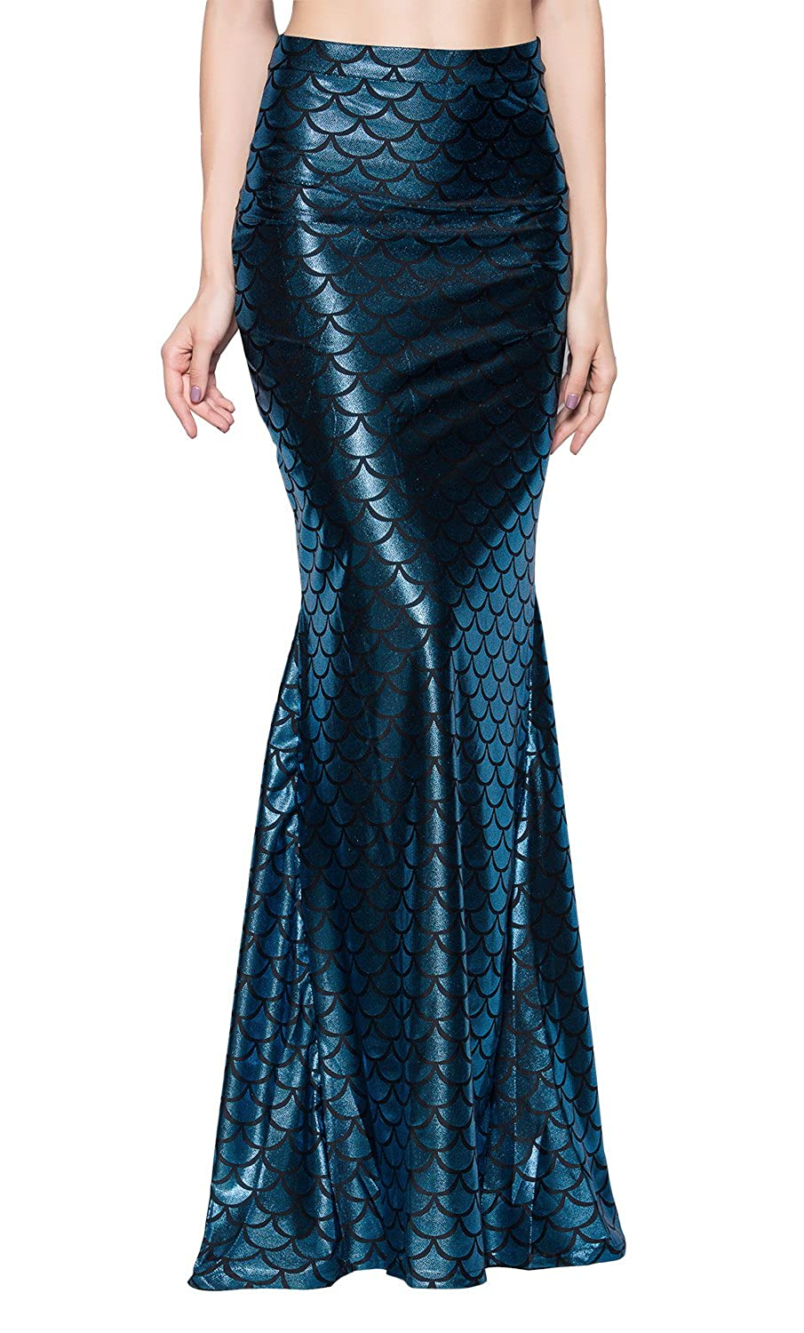 Ladies Long Iridescent Dark Blue Fish Scale Print Stretchy Flared Mermaid Skirt - DeluxeAdultCostumes.com