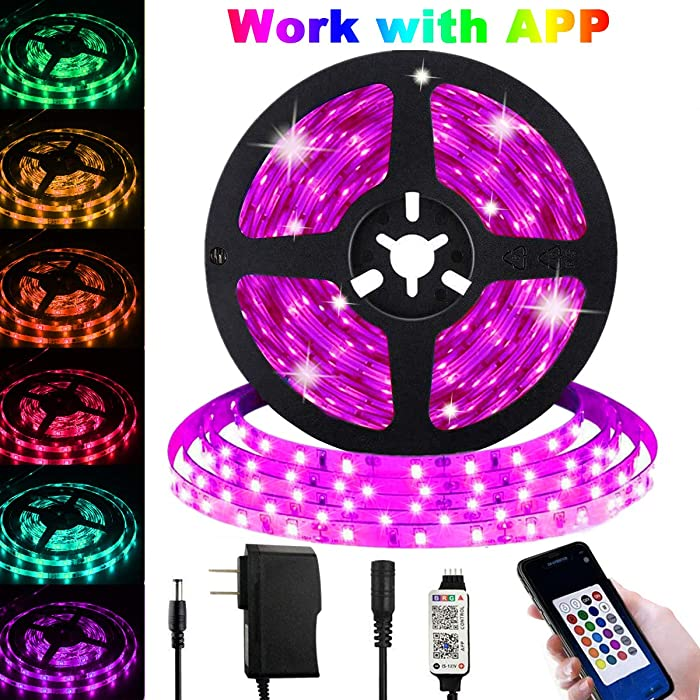 LED Strip Lights with APP Control, Strip Tape Lights 16.4ft/5m Plug in RGB Color Changing Lighting 150 LED 5050 Strip Rope Light with Bluetooth Remote Dimmable Mood Lighting for Home TV Kitchen Decor