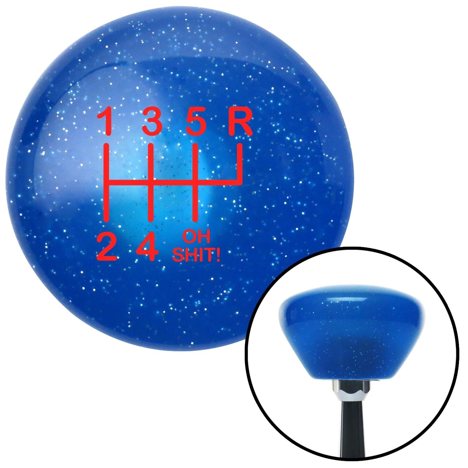 American Shifter 192322 Blue Retro Metal Flake Shift Knob with M16 x 1.5 Insert Red Shift Pattern OS26n