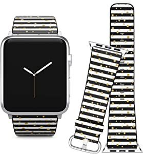 Compatible with Apple Watch (38/40 mm) Series 5, 4, 3, 2, 1 // Leather Replacement Bracelet Strap Wristband + Adapters // Gold Polka Dot On Lines