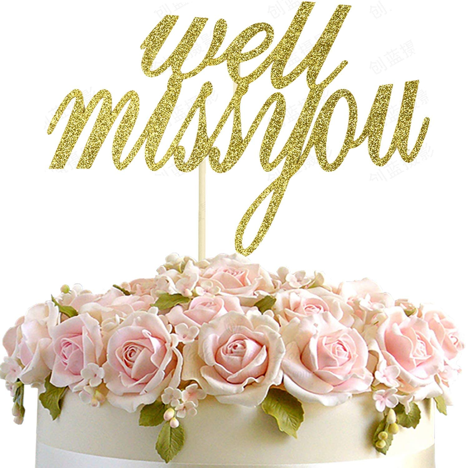 Job Change Going Away Party Decoration Supplies Farewell Party Gold Glitter Well Miss You Cake Topper for Happy Retirement Graduation