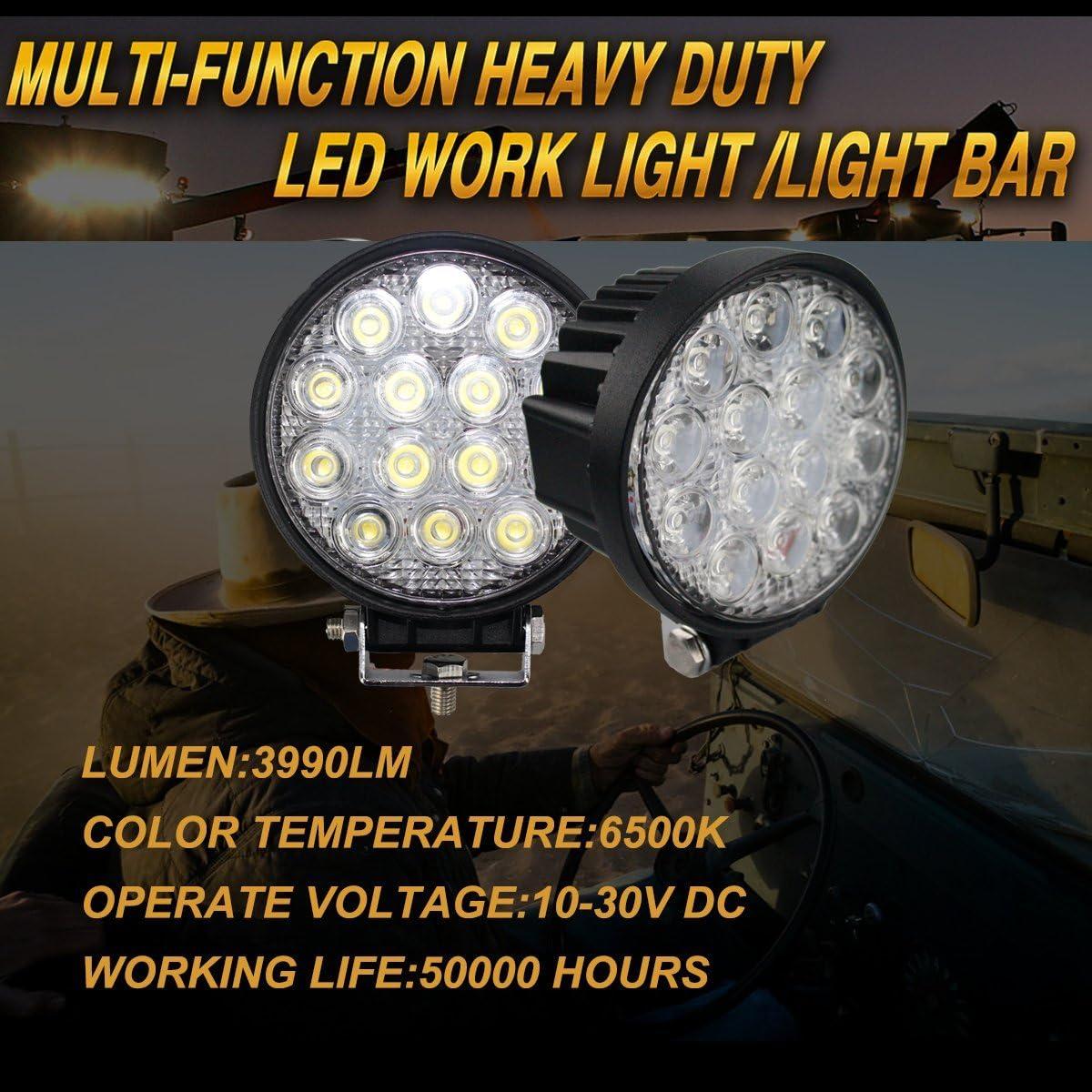 BRIGHTUM 42W LED Faro de trabajo FOCO offroad cami/òn L/ámpara de inundaci/ón work light Redonda 12V 24V 4 pieza