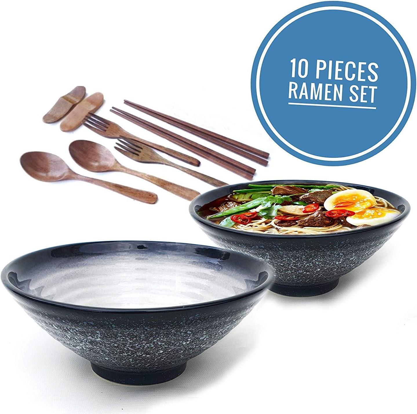 Ceramic Ramen bowl XL. Premium set. Black White. 2 Set (10 Pieces). Pho Bowls Asian Japanese With Spoons, Chopsticks, Double Stands and Fork. Large 55 Ounces for Noodles, Udon, Thai, Soup Meal…