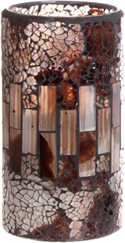 GiveU Crack Mosaic Glass Flameless Brown Pillar Led Wax Candle with Timer, 3X6 , for Home Decor, Weddings, Party and Awesome Gift – MO14032