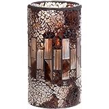 GiveU Crack Mosaik Glas flammenlose braun Säule LED Wachs Kerze mit Timer, 7,6x 15,2cm für Home Decor, Hochzeiten, Party und Awesome Geschenk