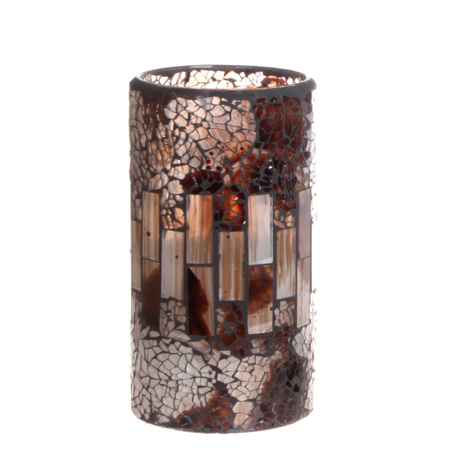 GiveU Crack Mosaic Glass Flameless Brown Pillar Led Wax Candle with Timer 3X6 for Home Decor Weddings Party and Awesome Gift