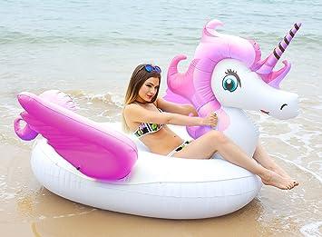 HooYL - Flotador de piscina de unicornio gigante, piscina inflable al aire libre. Flotador balsa caramelo. Juguete de salón flotante. Pegaso para ...