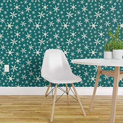 Spoonflower Pre Pasted Removable Wallpaper Snowflakes Snow