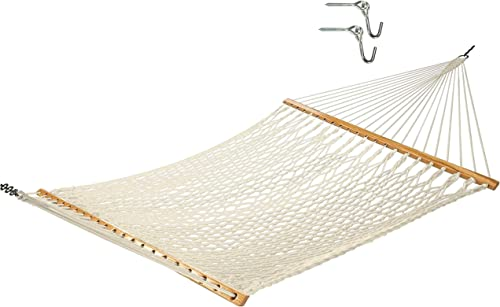Castaway Hammocks 13 ft. Traditional Hand Woven Cotton Rope Hammock with Free Extension Chains Tree Hooks, Accomodates Two People with a Weight Limit of 450 lbs.