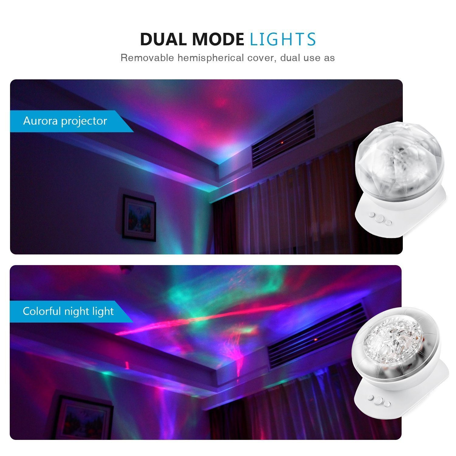 SinoPro Color Changing LED Night Light & Aurora Borealis Projector with Built-in Speaker for Children and Adults as Sleep Aid Light, Decorative Light, Mood Light in Kids Room, Living Room (White)