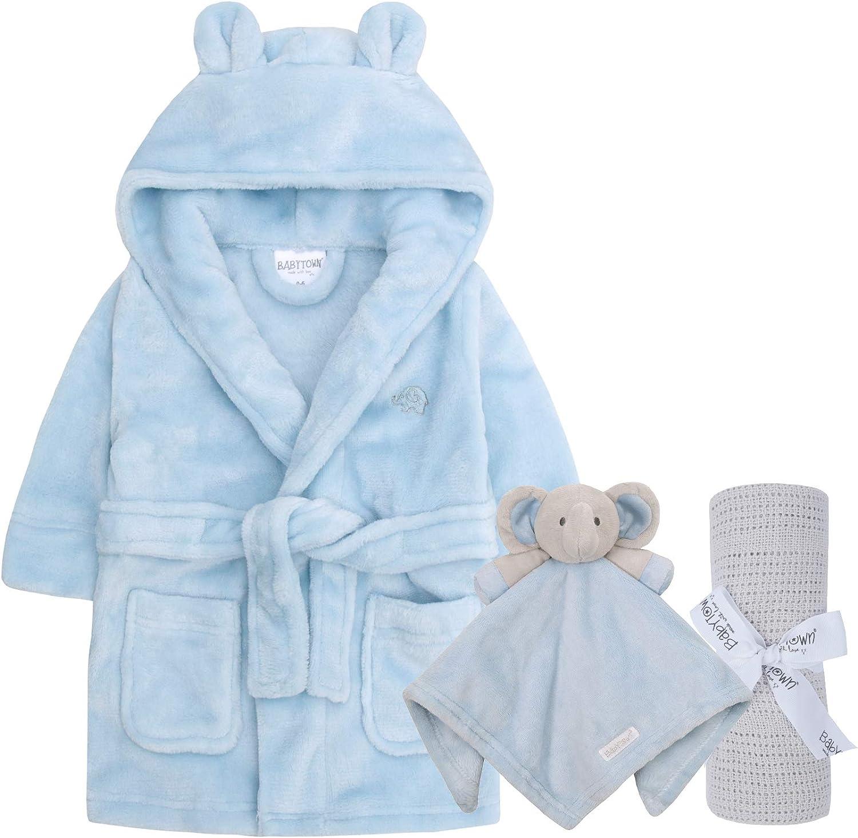 Geschenkset f/ür Jungen und M/ädchen Lora Dora Baby-Bademantel Kuscheldecke Decke