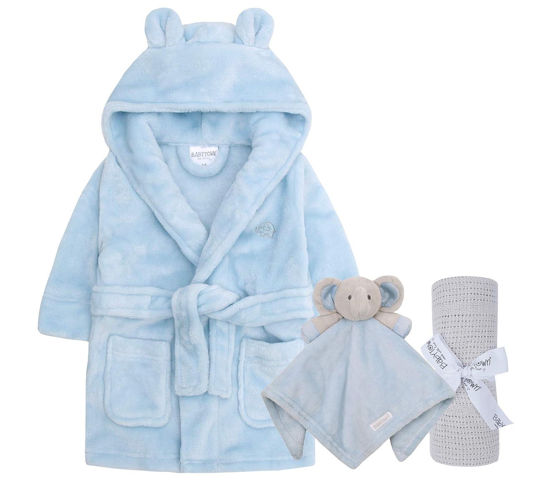 Schmusetuch Geschenkset f/ür Jungen und M/ädchen Lora Dora Baby-Bademantel Decke
