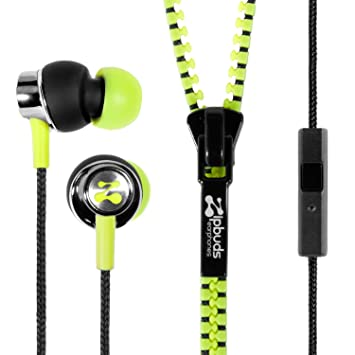 Review Zipbuds PRO mic Never Tangle Zipper Earbuds with Noise Canceling Mic/Remote, Neon Yellow