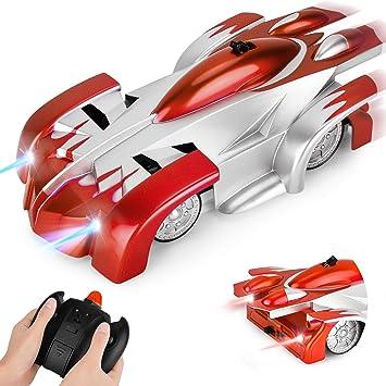 GotechoD Macchina Telecomandata per Bambini con LED Luci Anteriore e Posteriore, 360° Rotazione Auto da Corsa può Scalare Il Muro USB Ricaricabile RC