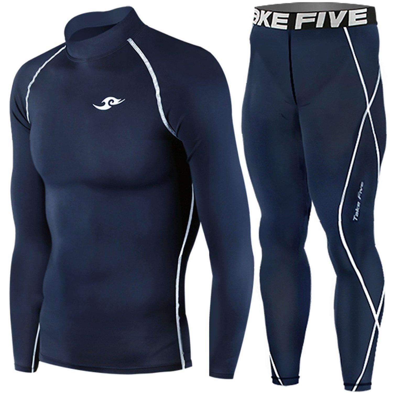 Take Five Compression Base Layer Long Sleeve High Neck Shirts and Long Pants Set