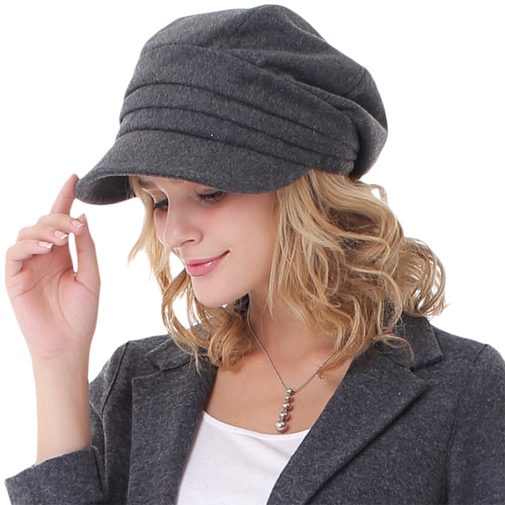 JAMOR Autumn and Winter Ladies Cap Casual Shopping Sun Hat Fashionable Warm Hat Foldable Hat (Dark Gray) by JAMOR