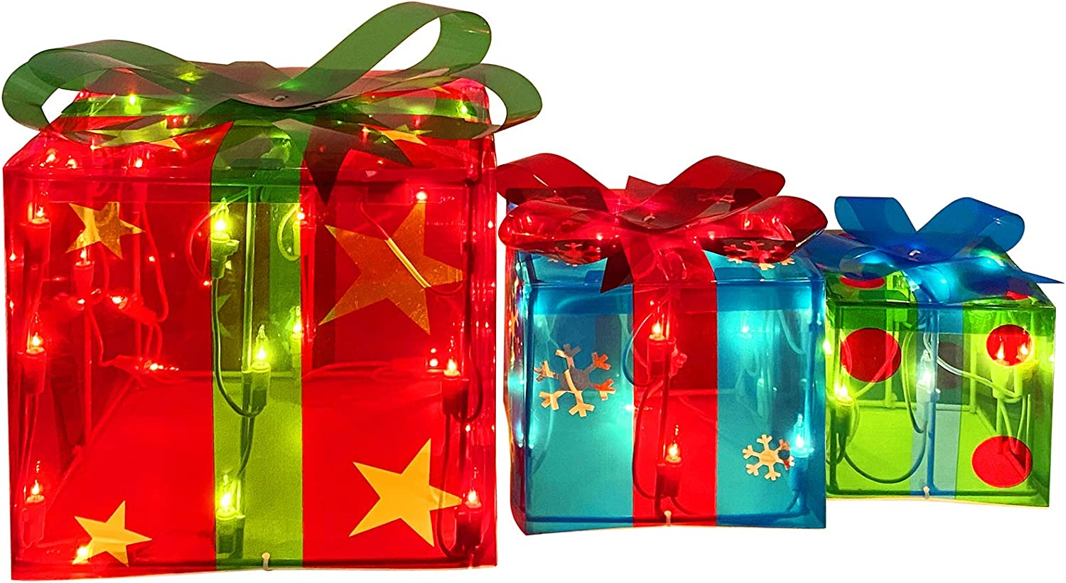 Set of 3 Lighted Gift Boxes for Christmas Decorations, Red Green and Blue Light Gift Boxes, Perfect for Christmas Home&Yard Décor (70 Lights)