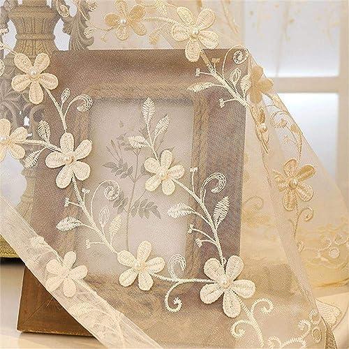 WPKIRA Embroidered Floral Elegant Sheer Curtains