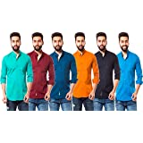 moudlin Slim Fit Casual Full Sleeve Shirts for Men – A Combo of 6 Solid Colour Shirts (Aqua Green,Maroon,Navy Blue,Orange,Dark Blue,Sky Blue)