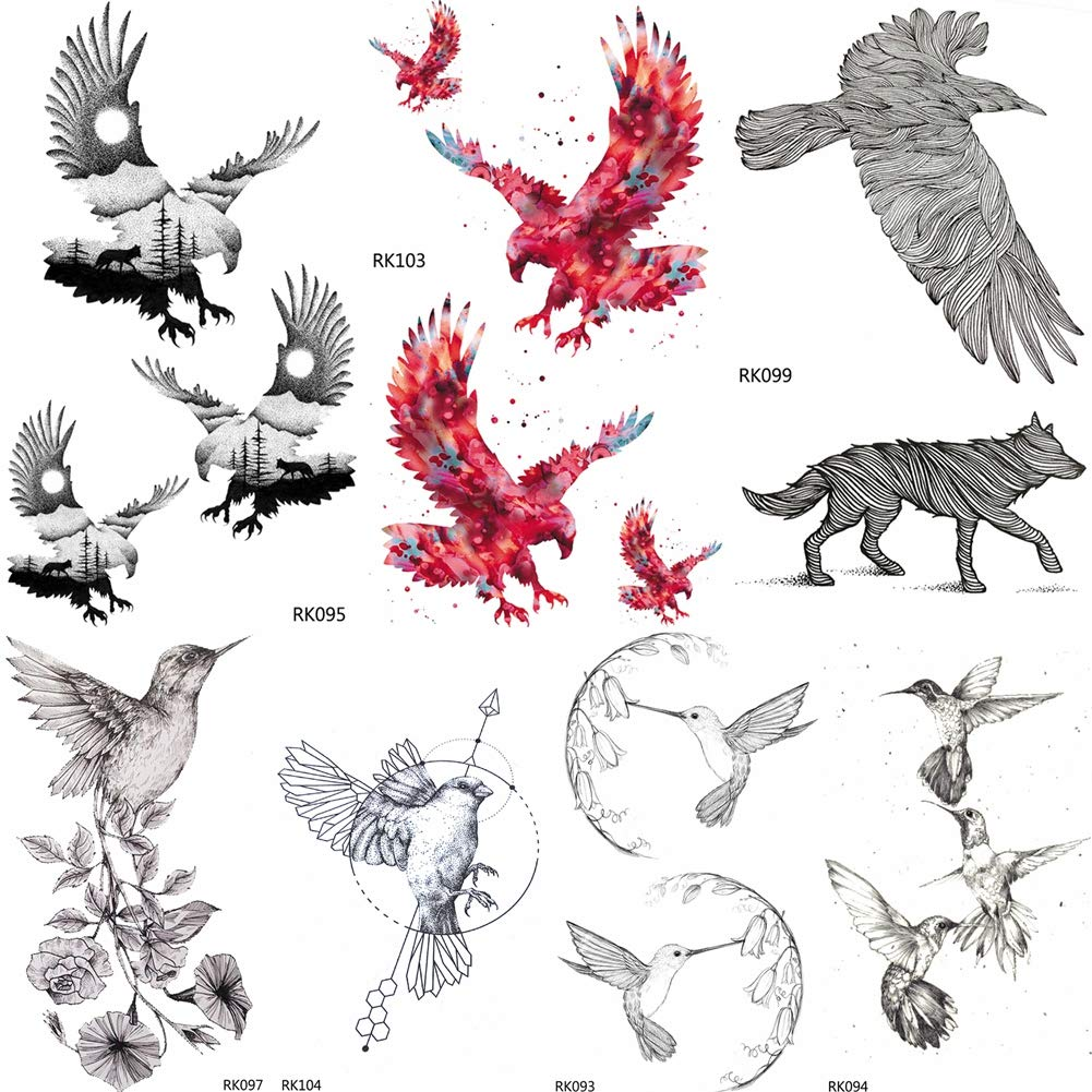 Etiqueta Engomada Del Tatuaje Temporal Sleeves Águila Calva ...