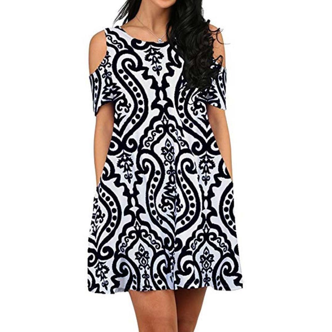 ESAILQ Frauen Kleid Schulterfrei Kurzarm Print Casual Dress ESAILQ Bluse Bester Verkauf