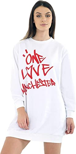 Highland Fashion kobiety koncert Baggy One Love Manchester Print Promi Sweatshirt Top: Odzież