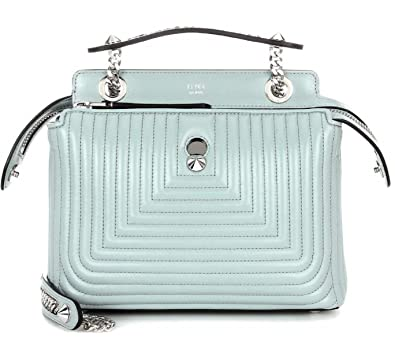 3c8b83737dfb Amazon.com  Fendi Dotcom Click Pale Blue Small Quilted Lambskin Leather  Chain Satchel Bag Silver Hardware 8BN299  Shoes