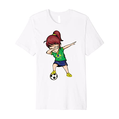 Dabbing Soccer Girl Brazil Jersey Shirt - Brazilian Football