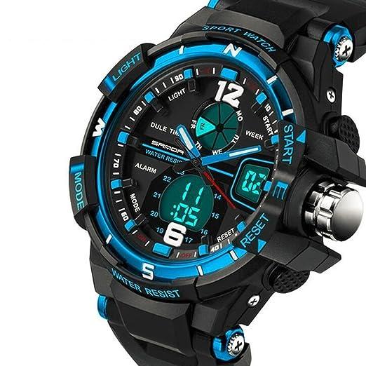 Sanda impermeable doble pantalla LED deportes militares relojes hombres analógico Digital de cuarzo reloj de pulsera