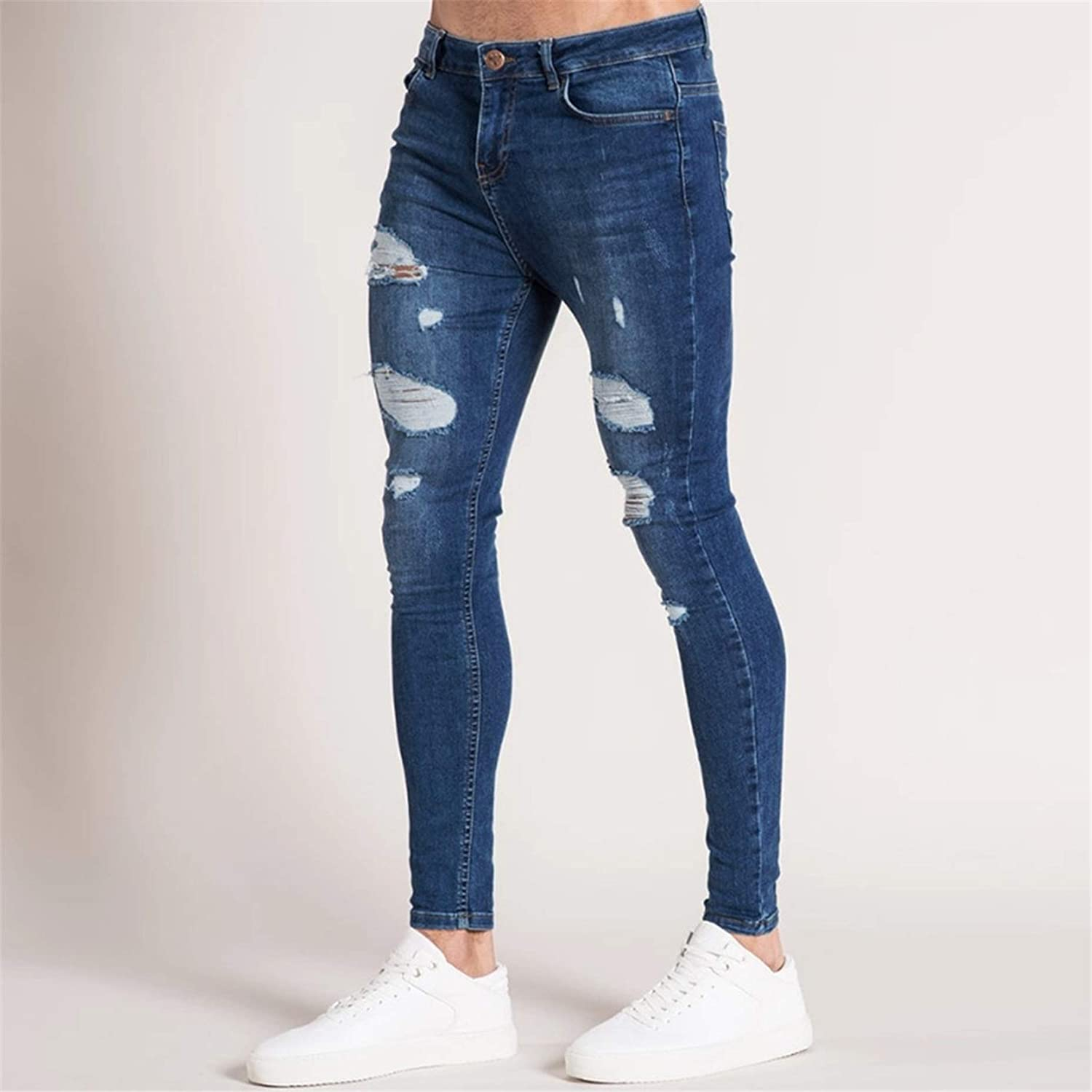 Mens Skinny Ripped Distressed Destroyed Slim Fit Stretch Biker Jeans Teen Boy Fashion Washed Denim Pants with Holes