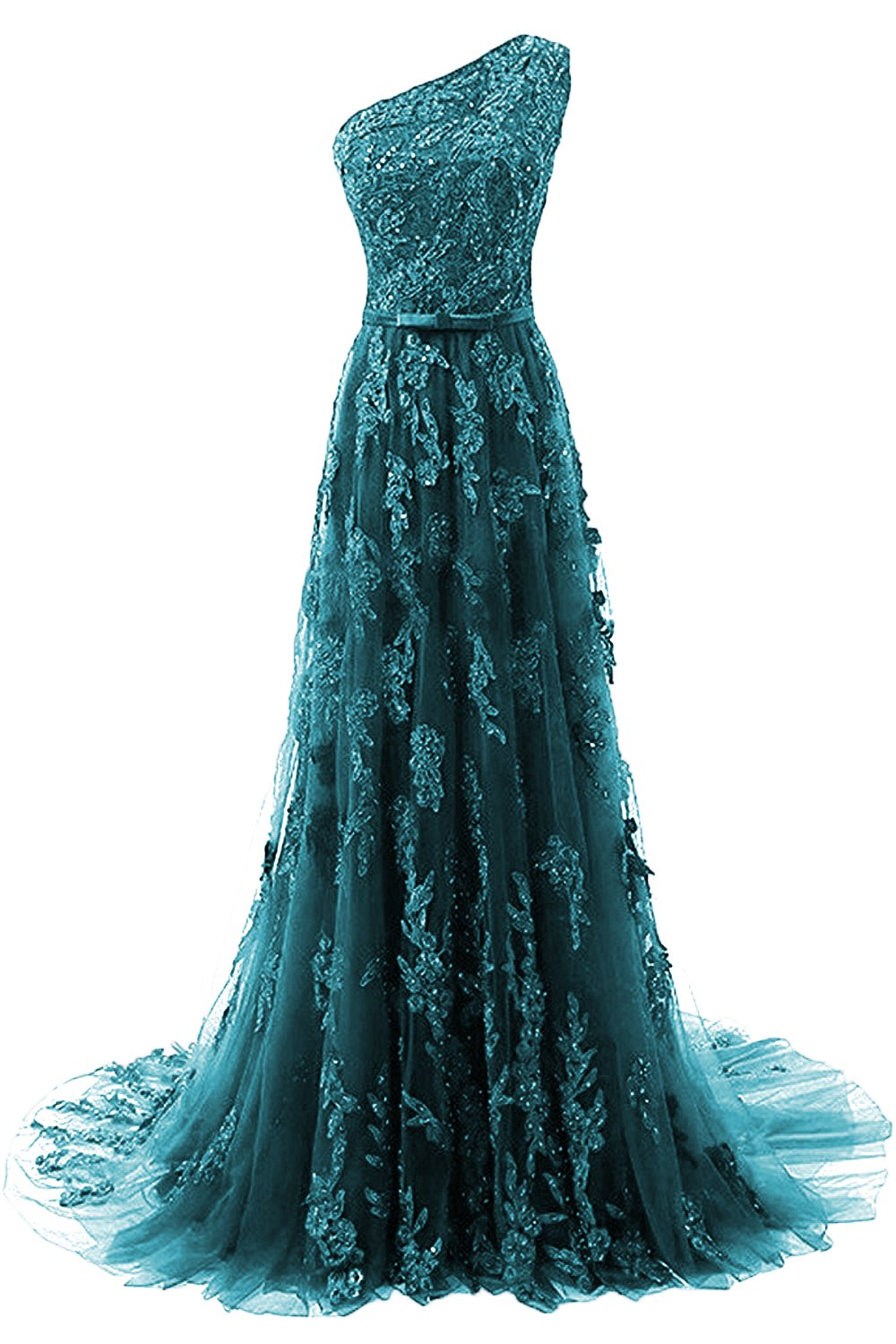 HEIMO Women's One Shoulder Evening Party Gowns Lace Appliques Formal Prom Dresses Long H107 12 Teal